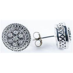 925 Sterling Silver Earrings 14 Diamonds -  (G-H) 2.94grams - 10ct. TRRV: $1100.00
