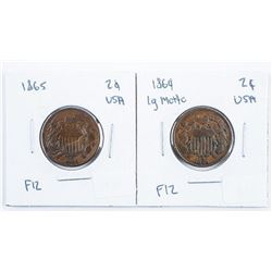 Lot (2) USA 1864 Large Motto and 1865 2 Cents