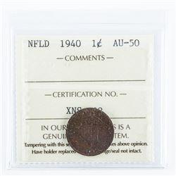 1940 NFLD 1 Cent AU50 ICCS