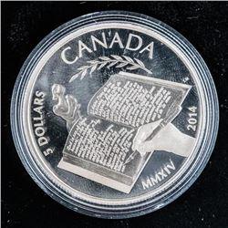 RCM 'Alice Munro' .999 Fine Silver $5.00 Coin  Mintage 7500
