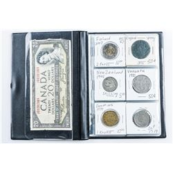 Coin Stock Book - 24 World Coins - Includes  Silver, Plus 1954 20.00.
