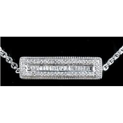 925 Silver Custom Necklace 68 Diamonds,  Baguettes and Round (F-G) 4.39grams. TRRV:  $1455.00