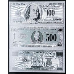 Group of (3) USA .999 Fine Silver Leaf  Collectibles, 100, 500 and Million Dollar  Notes