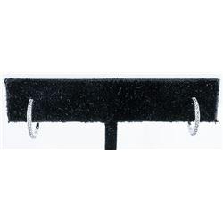 925 Sterling Silver Earrings Huggie Style  with 12 Diamonds. TRRV: $865.00