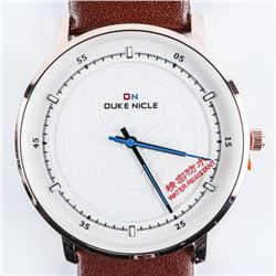 DUKE NICLE Gents Designer Watch, Marvel Dial,  Leather Band, Waterproof Beige Dial/Brown  Band