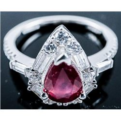 925 Sterling Silver, Pear Cut Ruby and CZ  Ring
