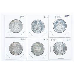 Lot (6) Canada Silver 50 cent - 1960, 1961,  1962, 1963, 1965, 1966
