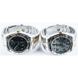 Matched Pair Gents Watches, White Dial &  Black Dials, 2 Tone Bands, Brand New Styles  2021. Distrib