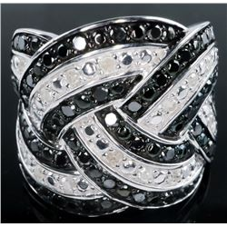925 Sterling Silver Ring - 97 Diamonds Fancy  Black and White Round Brilliant Square Cut  Diamonds 1