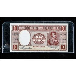 Banco Central De Chile Diez Pesos - 1941 -  GEM UNC.