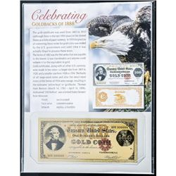 USA Goldbacks of 1888 24kt Gilded Note with  Giclee Art Card