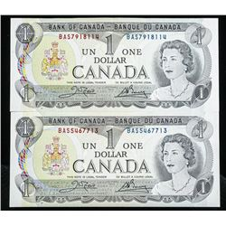 Lot of (2) Bank of Canada 1973 1.00 'UNC' In  Sequence