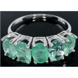 Ladies 14kt White Gold Ring with 5 Oval Cut  Emeralds 2.25gt tw - 1.99grams. TRRV:  $2000.00