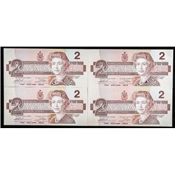 Lot (4) Bank of Canada 1986 $2 in Sequence
