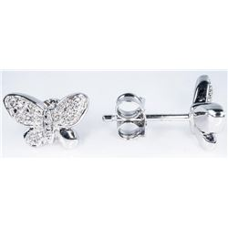 925 Sterling Silver Earrings Butterfly Style  with 12 Diamonds. TRRV: $865.00