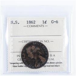 Nova Scotia 1862 Large Cent ICCS.