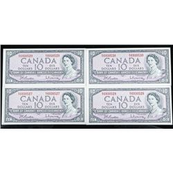 Lot (4) Bank of CANADA 1954 Modified Portrait  10.00 Note - B/R GEM UNC 'In Sequence'