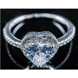 925 Sterling Silver Heart Cut Swarovski  Elements Solitaire Ring. Size 7
