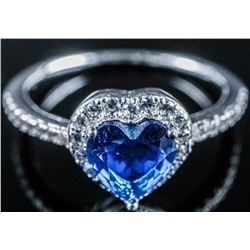 925 Sterling Silver Heart Cut Swarovski  Elements Solitaire Ring. Size 8