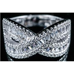 925 Sterling Silver Band Ring - Baguette and  Round Brilliant Swarovski Elements Infinity  Style. Si