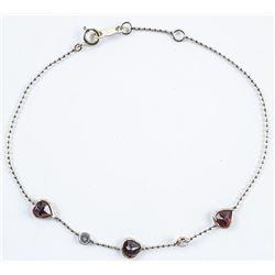 "Ladies 10kt Gold, Handmade Bracelet 6.5-7.25""  Heart Cut Garnets and 2 Natural White  Sapphires 1.70"