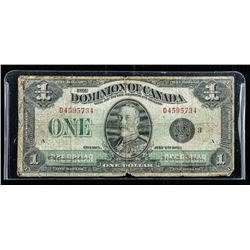 Dominion of Canada 1923 One Dollar Note.