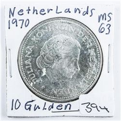 Netherlands 1970 10 Gilden MS63 .5787 ASW