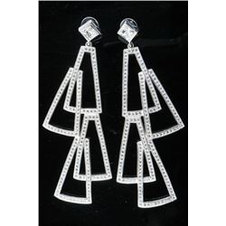 925 Silver and White Gold Plating Custom  Design Earrings - 18ct Swarovski Elements -  TRRV 2650.00