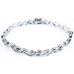 925 Silver, Lady's Bracelet Infinity Design  with Diamonds. TRRV: $880.00