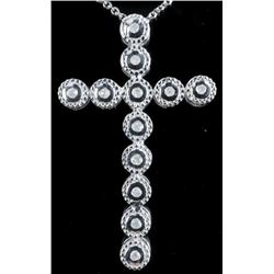 925 Sterling Silver Fancy Cross Pendant and  Chain 'Cross' 12 Diamonds (G-H) TRRV:  $1045.00