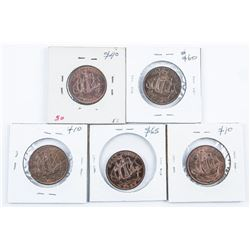 Group of (5) UK/Great Britain Half Penny  1950, 1962, 1964, 1967, 1967 MS63-MS65