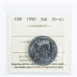 1990 CAD 50 Cents MS65 ICCS