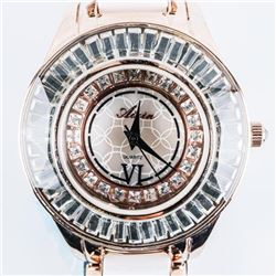 Ladies Quartz Watch, Copper Case, Ceramic  White Band, Dials Set with Baguette Swarovski  Elements