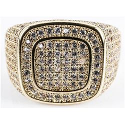 Gents - Signet Style Ring Micro Pave Set with  Swarovski Elements Gold Plated over B.M.  Size 10
