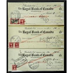 Group of (3) Important Financial Documents,  Checks with Excise Stamps: 1939, 1940, 1942