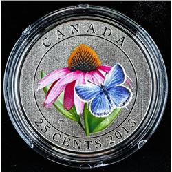 RCM 2013 25 Cent Coloured Coin Purple  Coneflower
