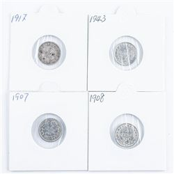 Group of (4) Silver NFLD 5 Cents,  1907.1908,1917,1943