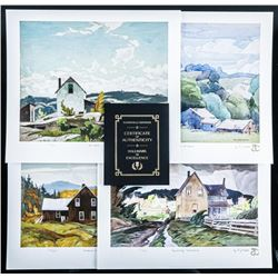 """A.J. Casson (1898-1992) 'A Rural Setting' 4  Giclee Folio 12x13"""" Unframed with C.O.A.  Matched LE"""