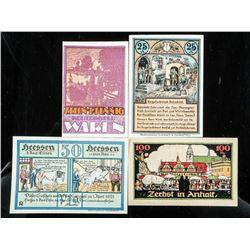 Group of (4) German/Austrian Notgeld Artistic  Notes