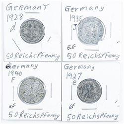 Lot (4) Germany 50 Reichspfennig Coins:  1927C, 1928a, 1935j, 1940f