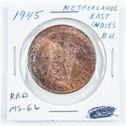 1945 Netherlands East Indies BU One Cent. Red  MS66.