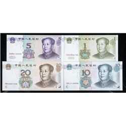 Group of (4) Notes of China - 1, 5, 10, 20  'Yuan' UNC All Notes End in '58' GEM UNC