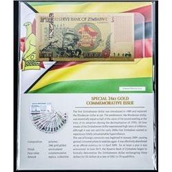 Reserve Bank of Zimbabwe Special 24kt Gold  Commemorative 'One Bicentillion Dollars'
