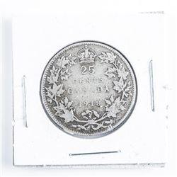 1918 CANADA Silver 25 Cent
