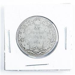 1912 CANADA Silver 25 Cent