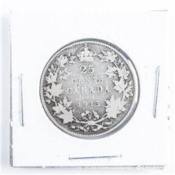 1913 CANADA Silver 25 Cent