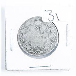 1916 CANADA Silver 25 Cent
