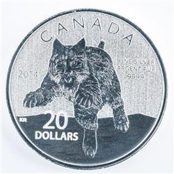 RCM 2014 BOBCAT .999 Fine Silver $20.00 Coin  - Sold Out.