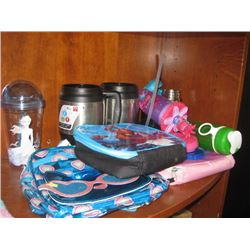 ASSORTED WATER BOTTLES AND LUNCH BAGS