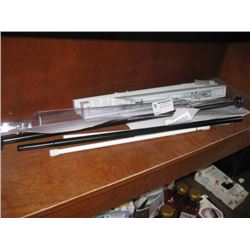 SHELF OF ASSORTED CURTAIN RODS AND BLINDS